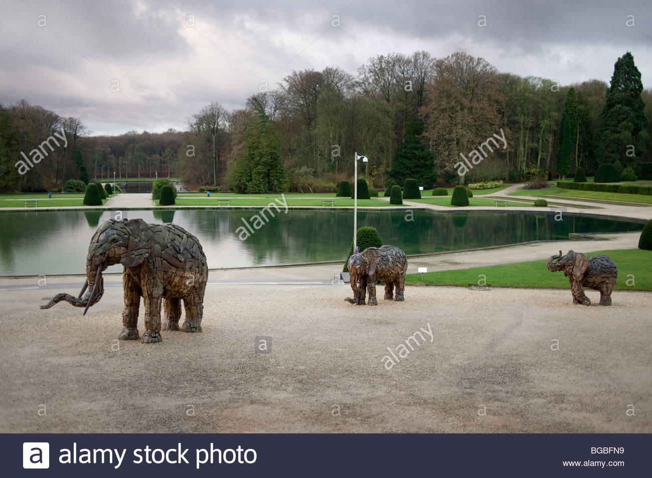 Landscaped grounds of the Royal Museum of Central Africa in Tervuren, on the outskirts of Brussels, Belgium. - Stock Image