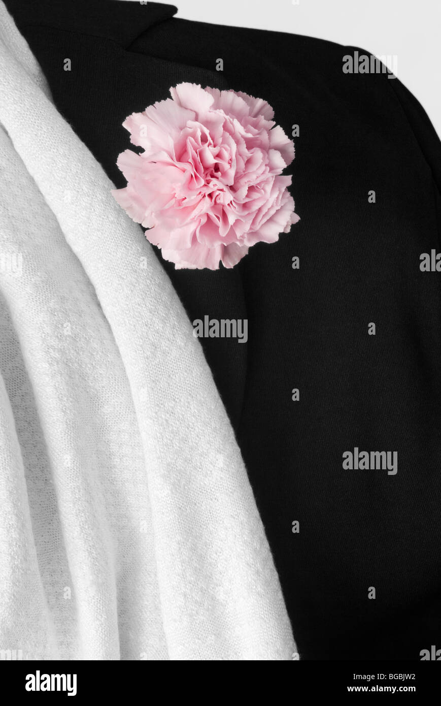 White shawl and Back Jacket with Flower in Buttonhole - Stock Image