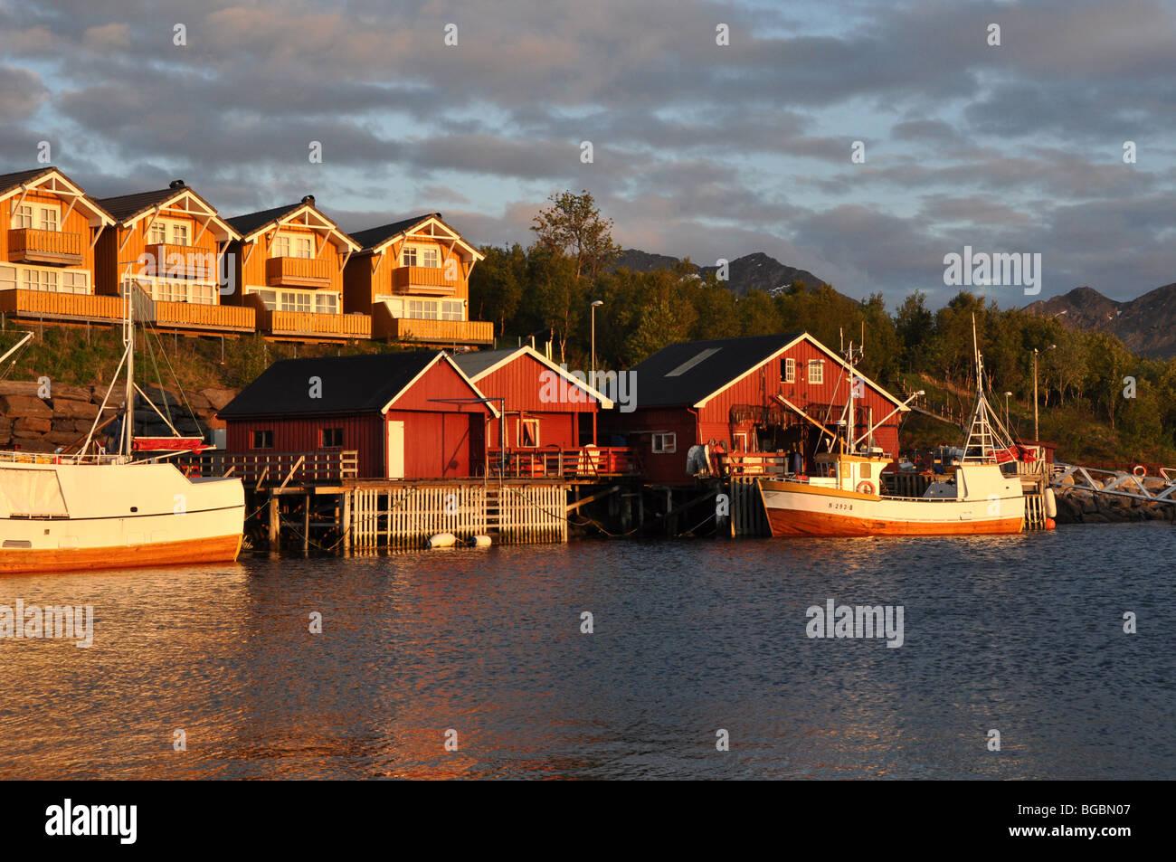 Midnight sun at Kjerringoy  Handelssted  Salten  Nordland Norway - Stock Image