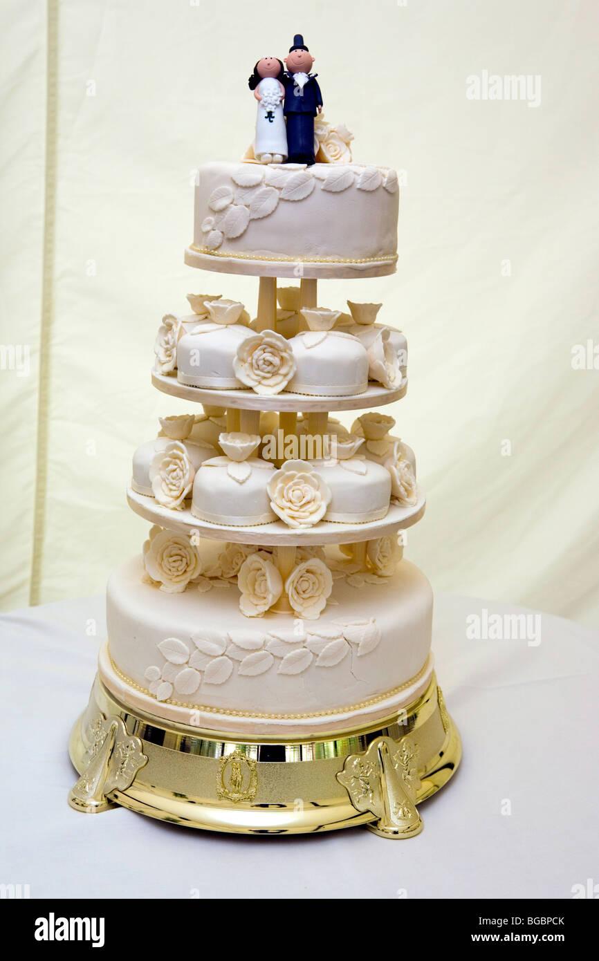 White Four Tier Wedding Cake   Stock Image