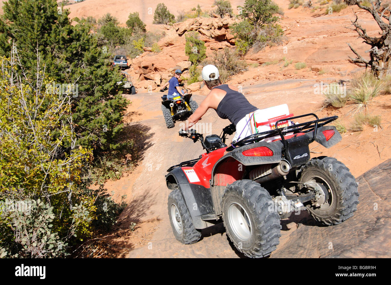 Quad biker on Slickrock Trail, Moab, Utah, USA - Stock Image