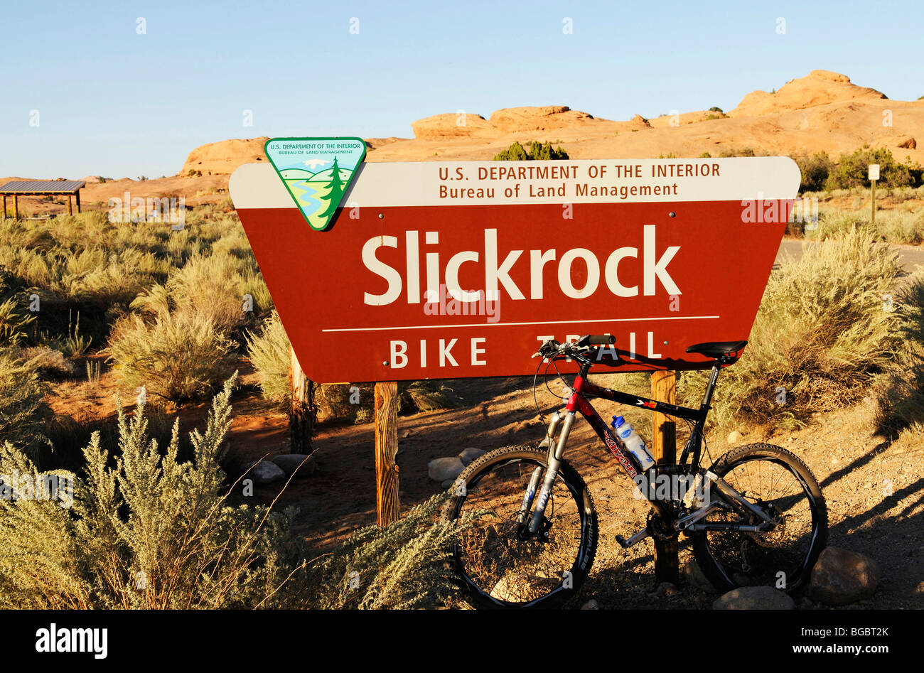Slickrock Bike Trail, shield, Moab, Utah, USA - Stock Image