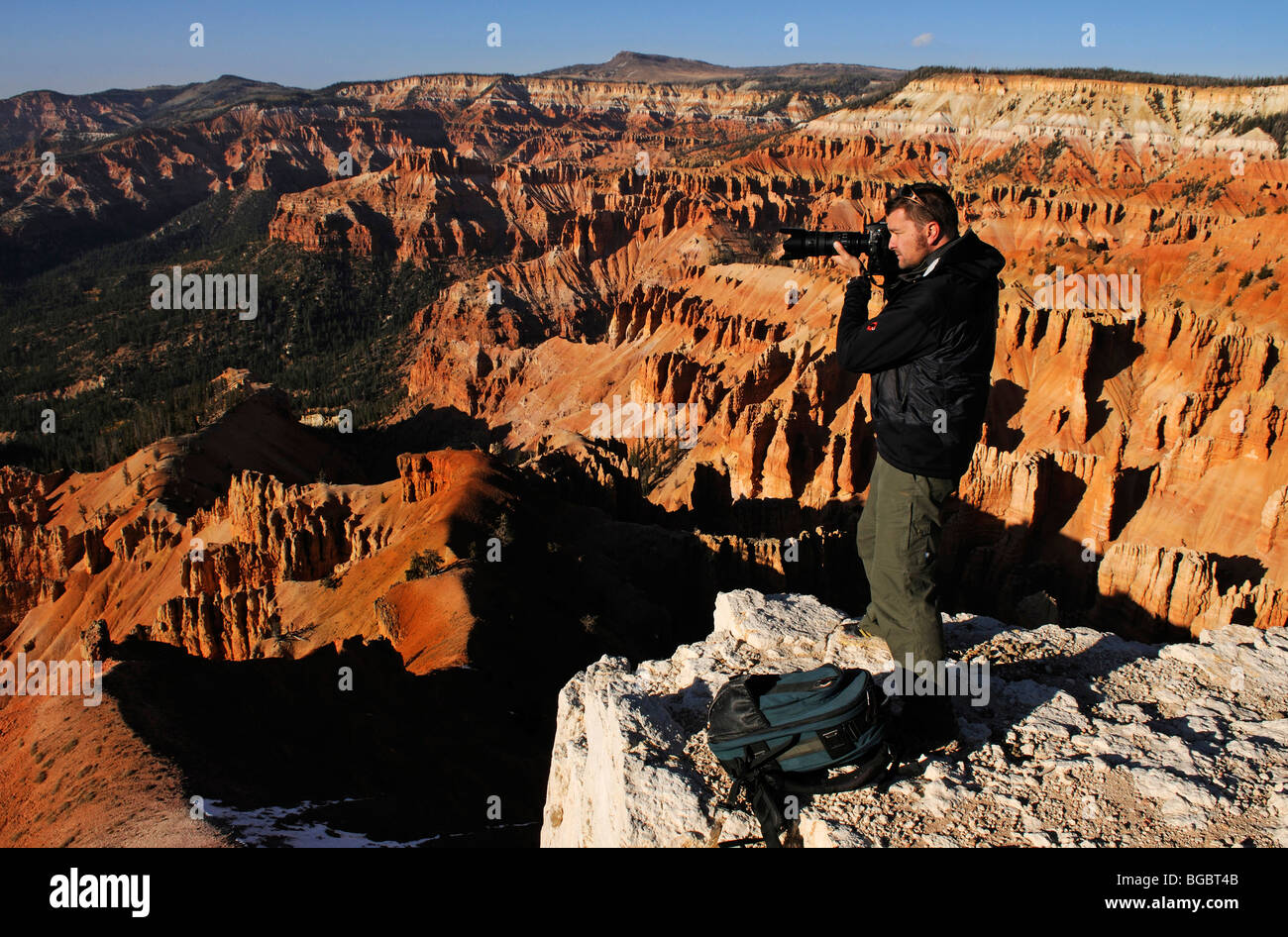 Photographer Norbert Eisele-Hein at Spectra Point, Cedar Breaks National Monument, Dixie National Forest, Brian - Stock Image