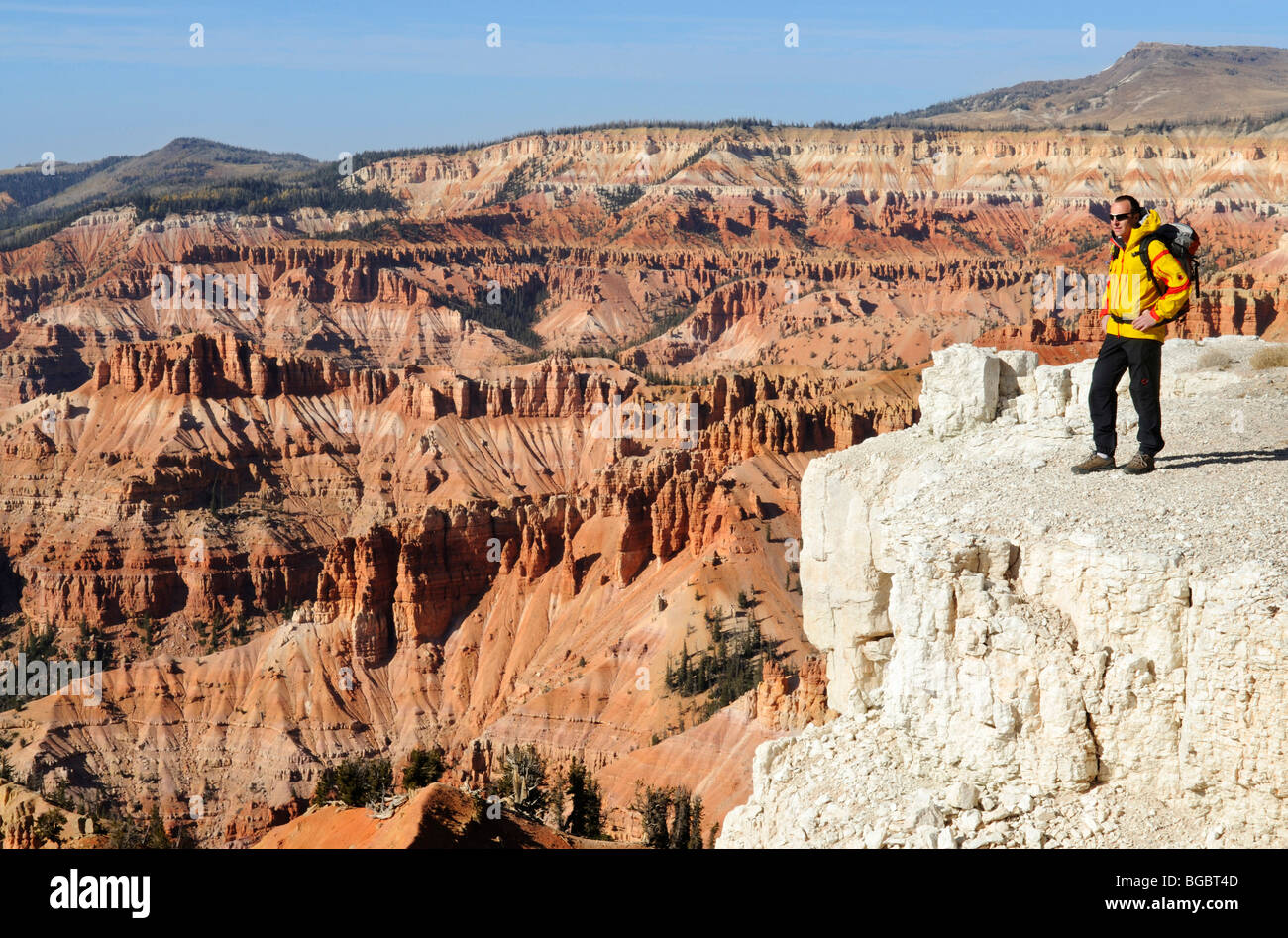 Hiker, Spectra Point, Cedar Breaks National Monument, Dixie National Forest, Brian Head, Utah, USA - Stock Image