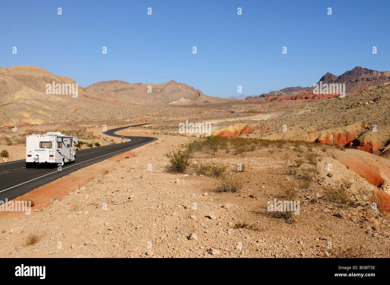 Camper, Valley of Fire, Nevada, USA - Stock Image