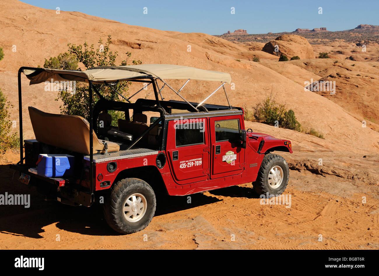 Cross-country vehicle, Hummer tour, Slickrock Trail, Moab, Utah, USA - Stock Image