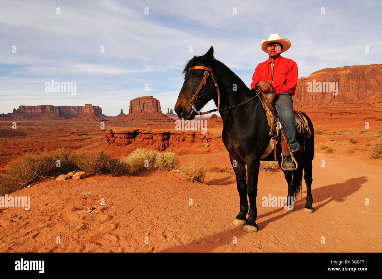 Navajo, Native American on horseback, Monument Valley, Navajo Tribal Lands, Utah - Stock Image