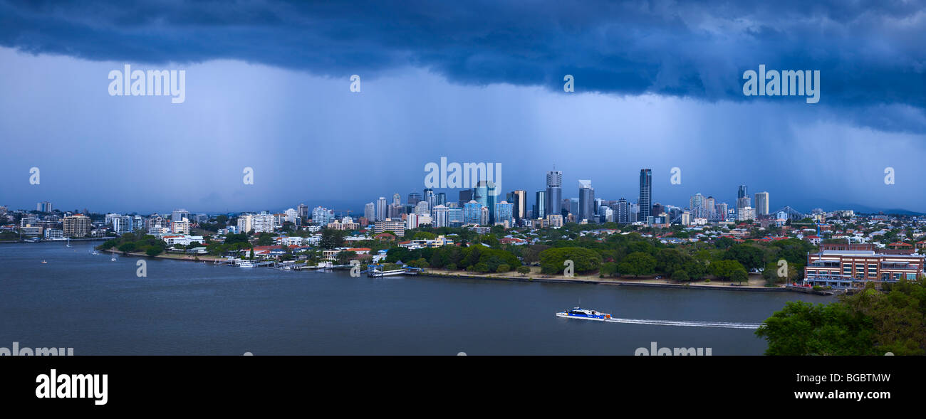Brisbane Cityscape during a summer storm - Stock Image