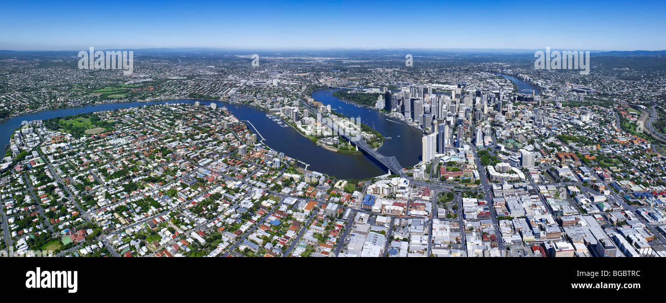 Panoramic aerial view of Brisbane Australia - Stock Image