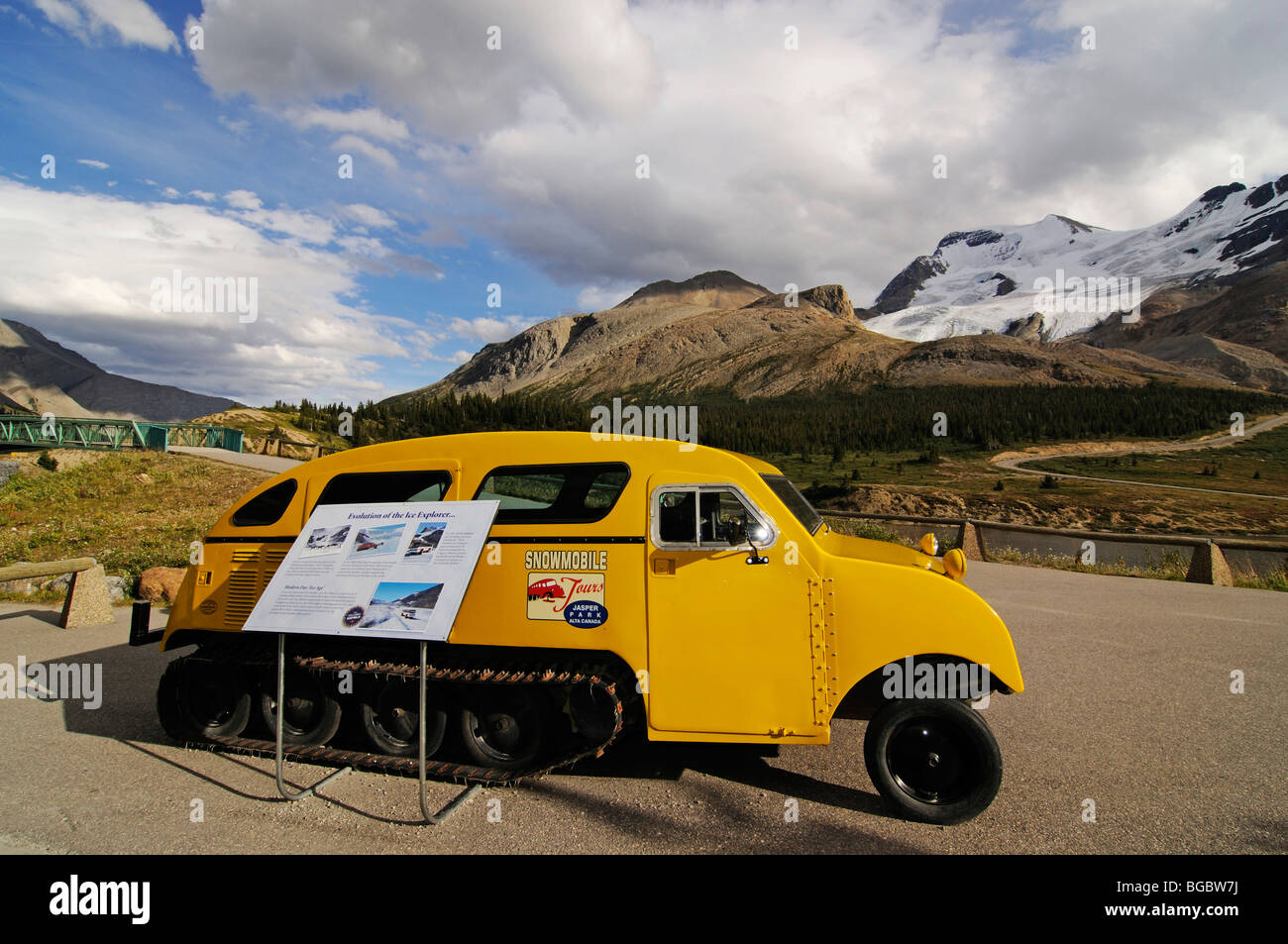 Old snowmobile, Icefields Parkway, Columbia Icefield, Jasper National Park, Alberta, Canada - Stock Image