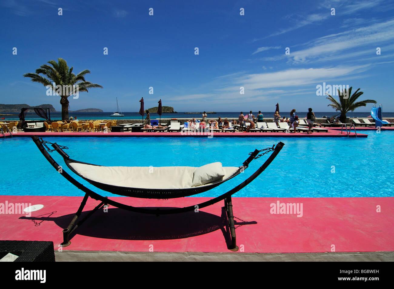 Hammock, pool, Jacaranda Lounge, Es Cana or Es Canar, Punta Arabi, Ibiza, Pine Islands, Balearic Islands, Spain, - Stock Image