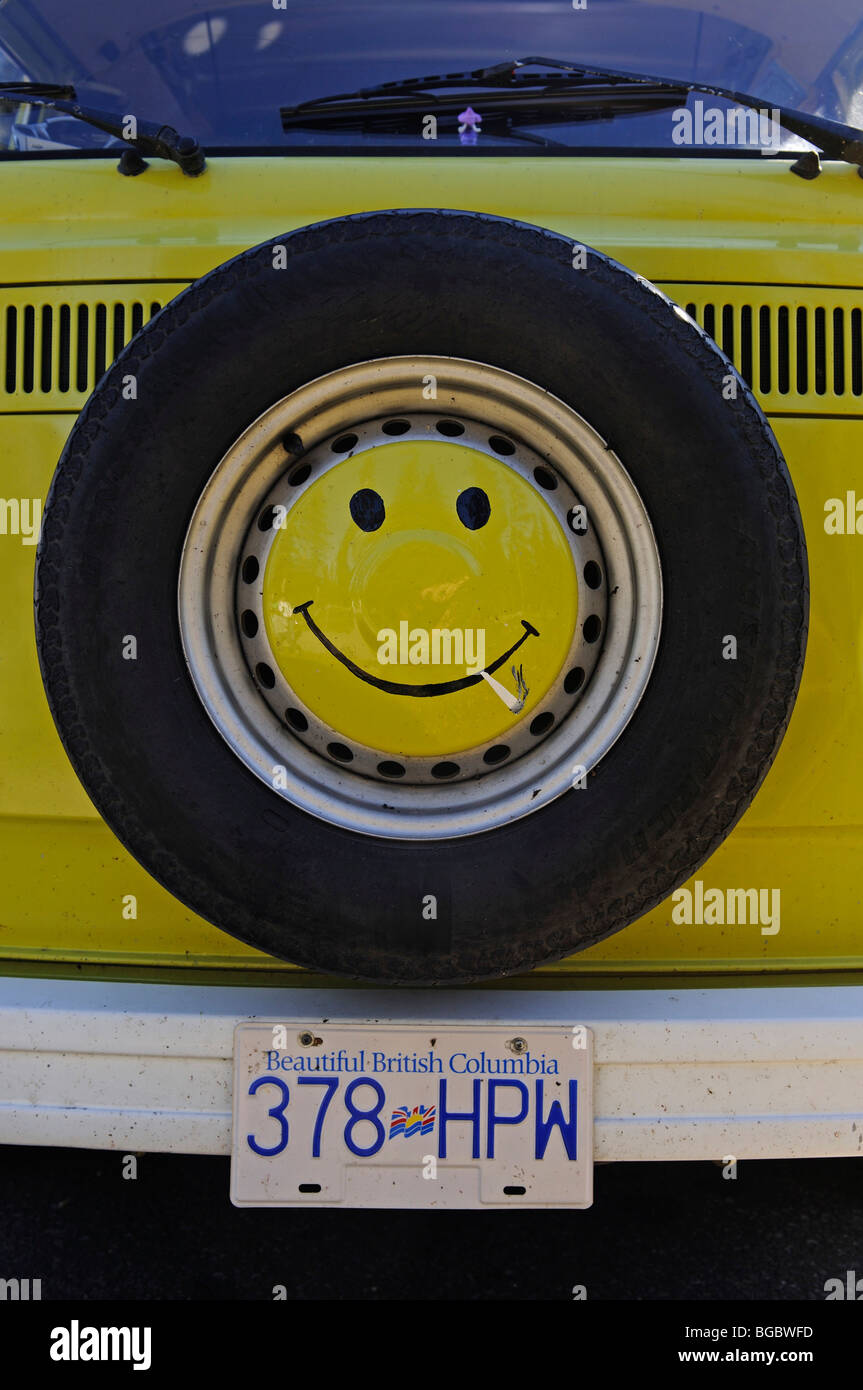 VW bus, number plate of British Columbia, Canada - Stock Image