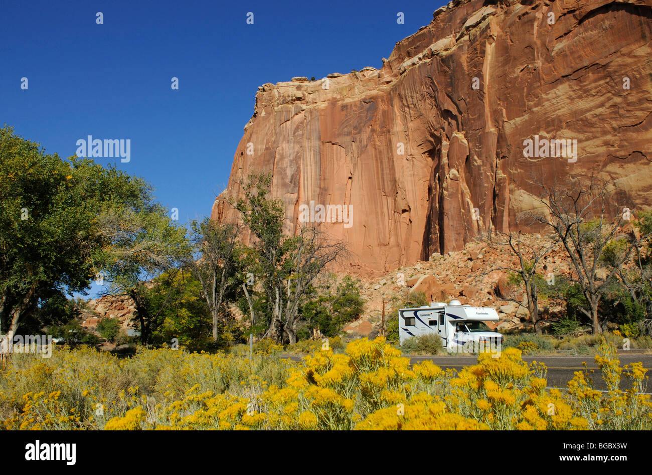 Camper, Castle, Capitol Reef National Park, Utah, USA Stock Photo