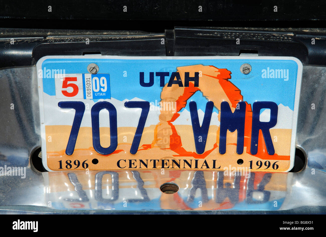 License plate, Utah, USA - Stock Image