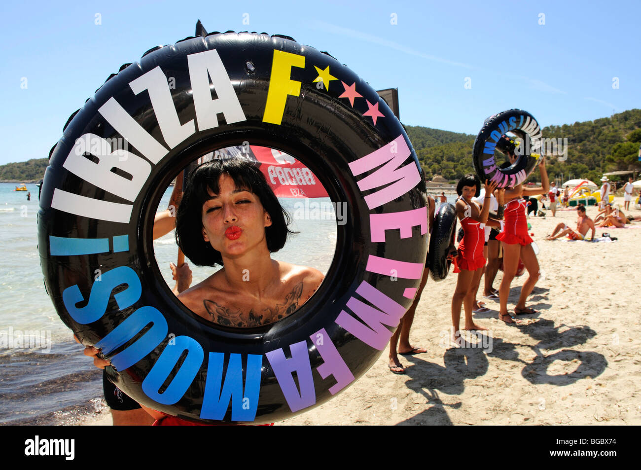 Promoters for the Pacha discotheque, Cala de Ses Salines, Ibiza, Pine Islands, Balearic Islands, Spain, Europe - Stock Image