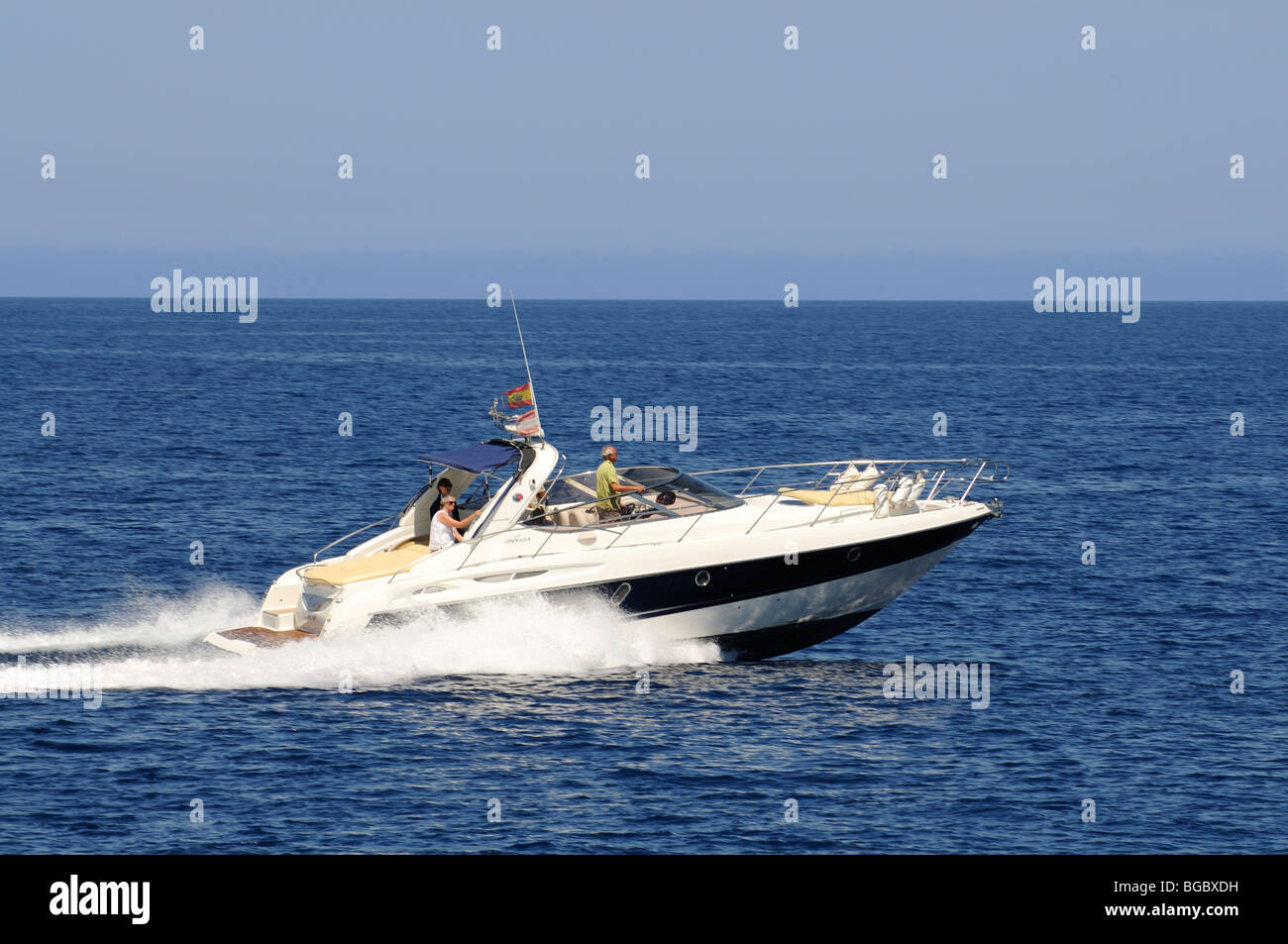 Motorboat, Ibiza, Pine Islands, Balearic Islands, Spain, Europe - Stock Image