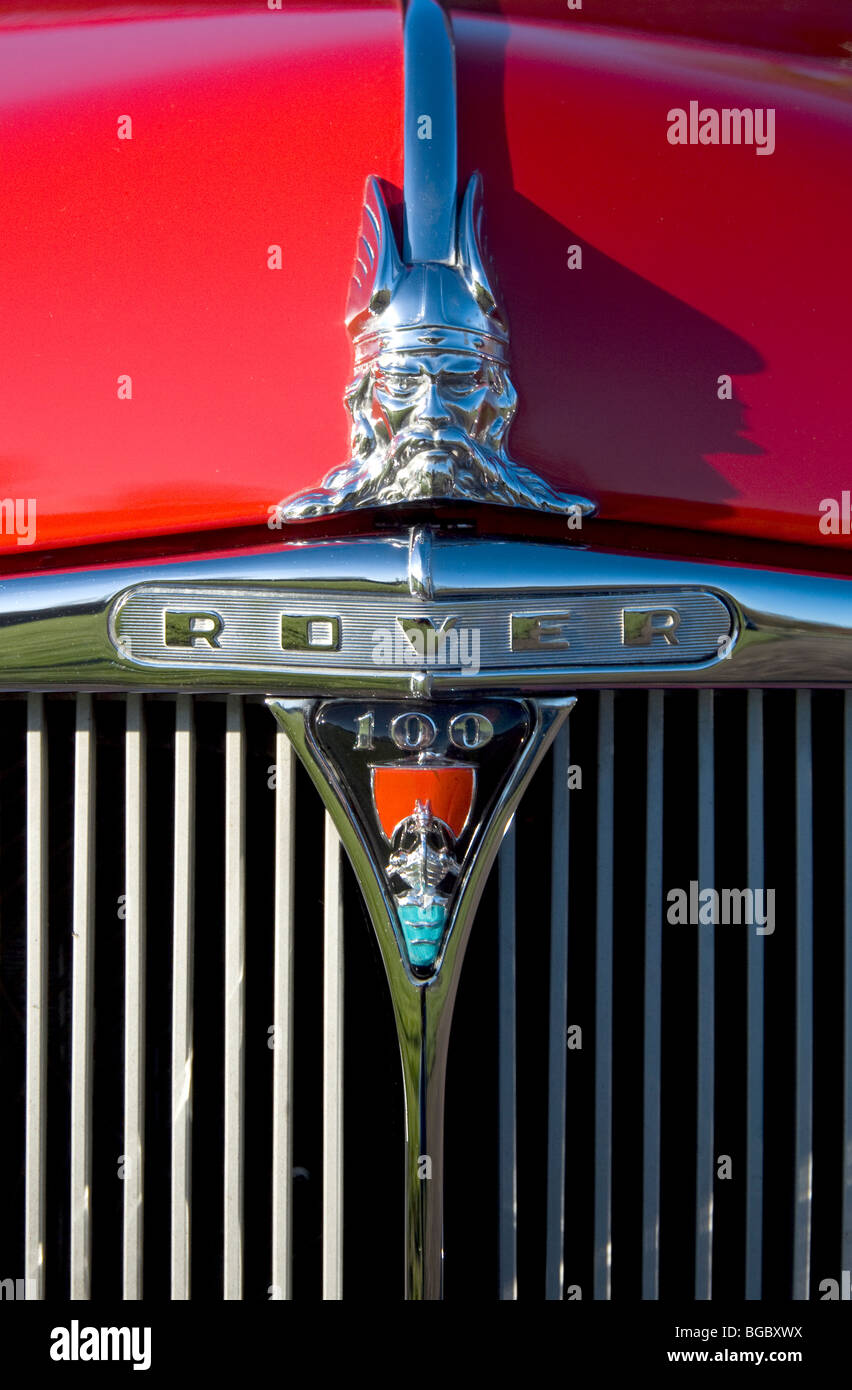 Rover Viking ship and head badge on the grill of a P4 100 car - Stock Image