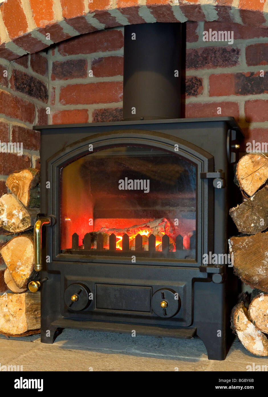 Multi Fuel Domestic Stove That Can Burn Coal Or Wood With Logs