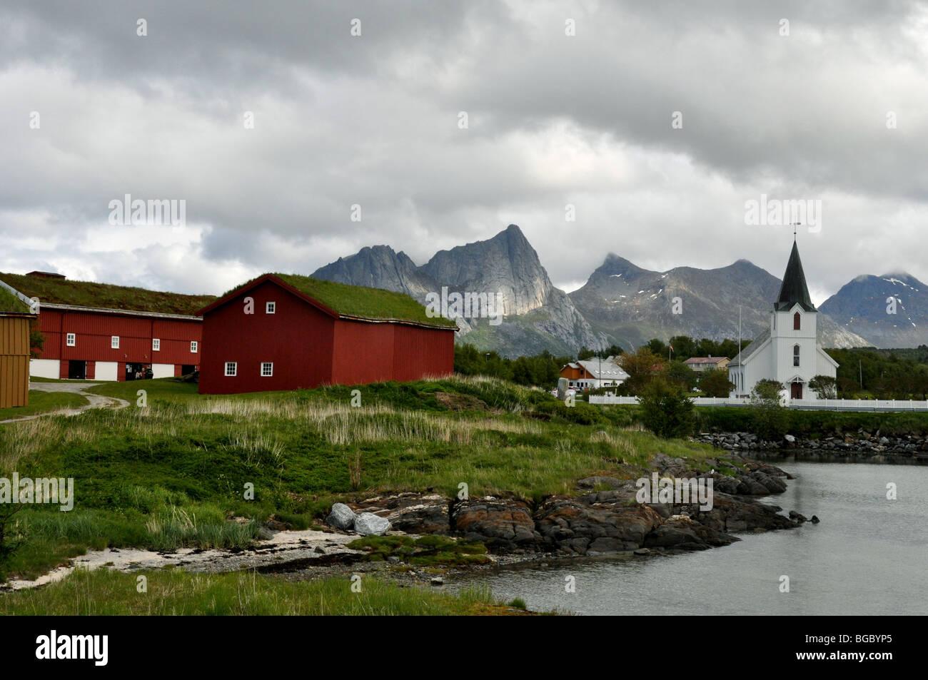The Church at Kjerringoy  Handelssted  Salten  Nordland Norway - Stock Image