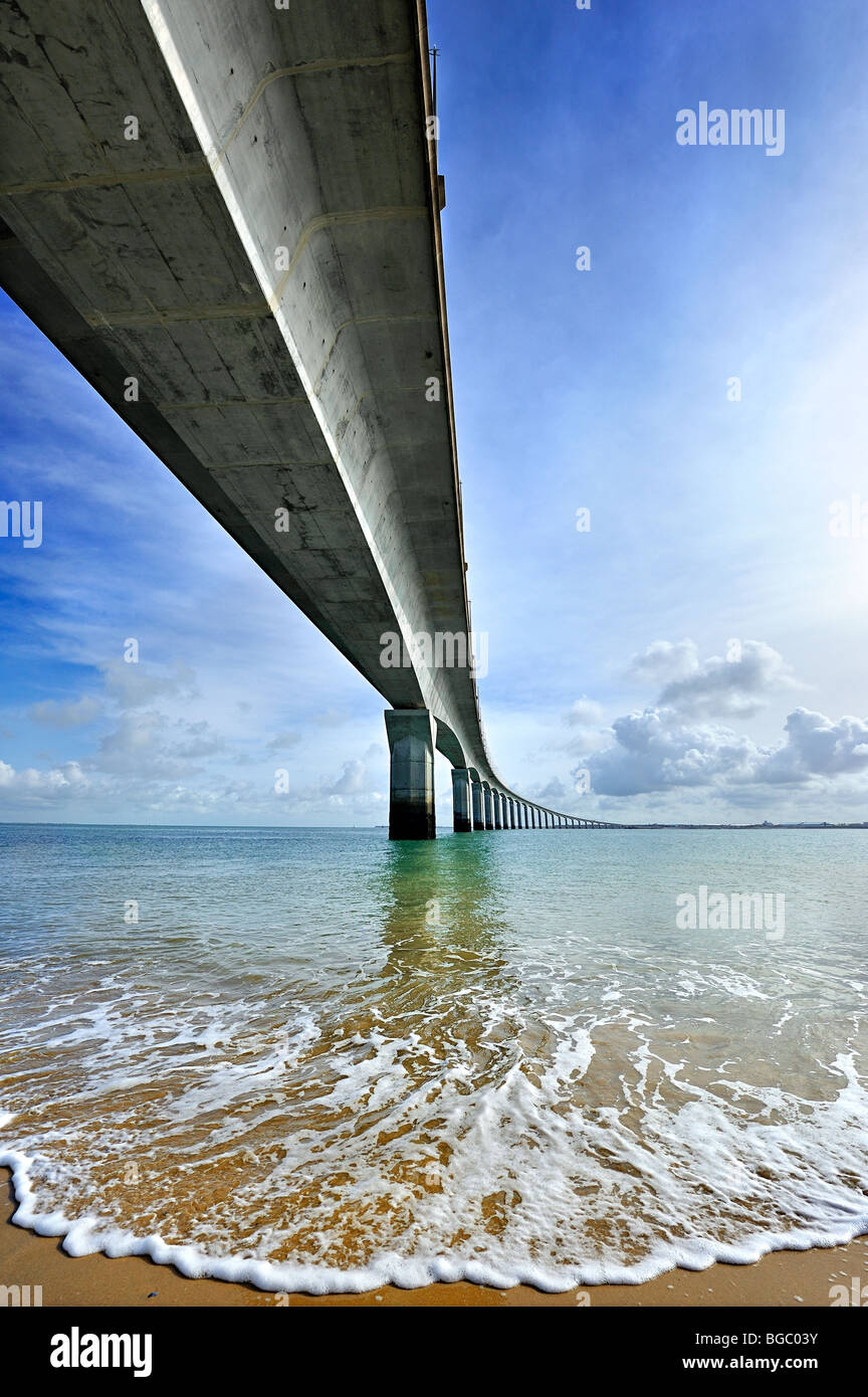 Ile de Re viaduct, France. - Stock Image