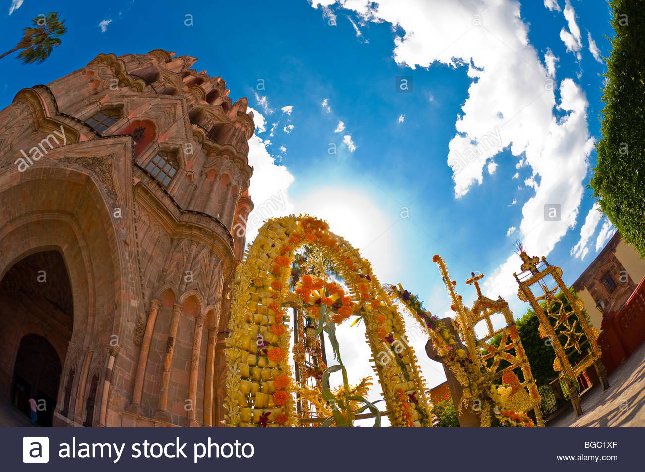 The Church of St. Michael the Archangel, Plaza Principal, San Miguel de Allende, Guanajuato state, Mexico - Stock Image