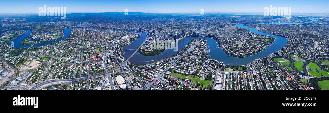 Aerial panoramic view of Brisbane Australia - Stock Image