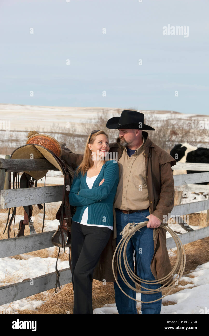 Couple on a ranch - Stock Image