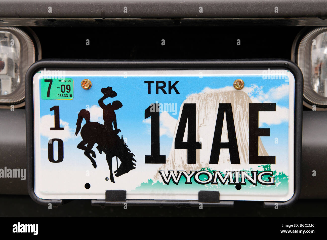 License plate, Wyoming, USA - Stock Image