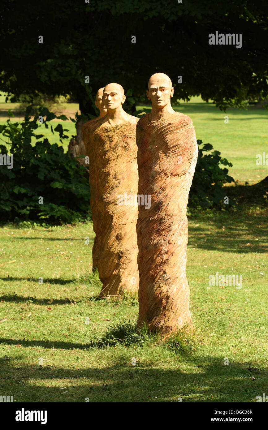 Bea Van Dorpe Clay Men Sculpture at the National Botanic Garden of Belgium at Meise (near Brussels) in Flemish Brabant, - Stock Image
