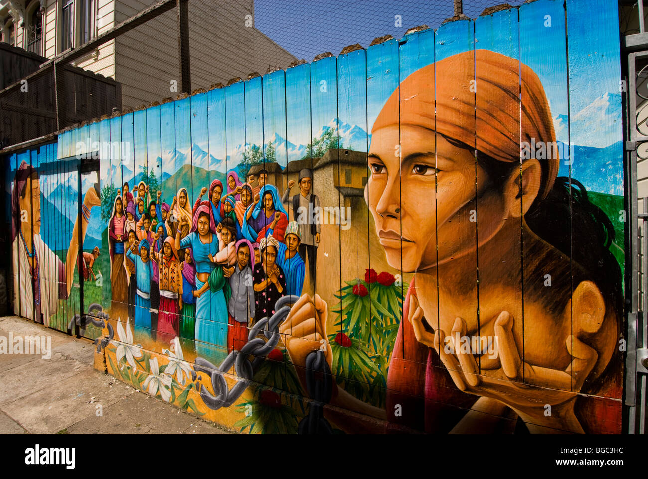 California: San Francisco. Mission district murals, Hispanic themes. Photo copyright Lee Foster. Photo # 26-casanf78625. - Stock Image