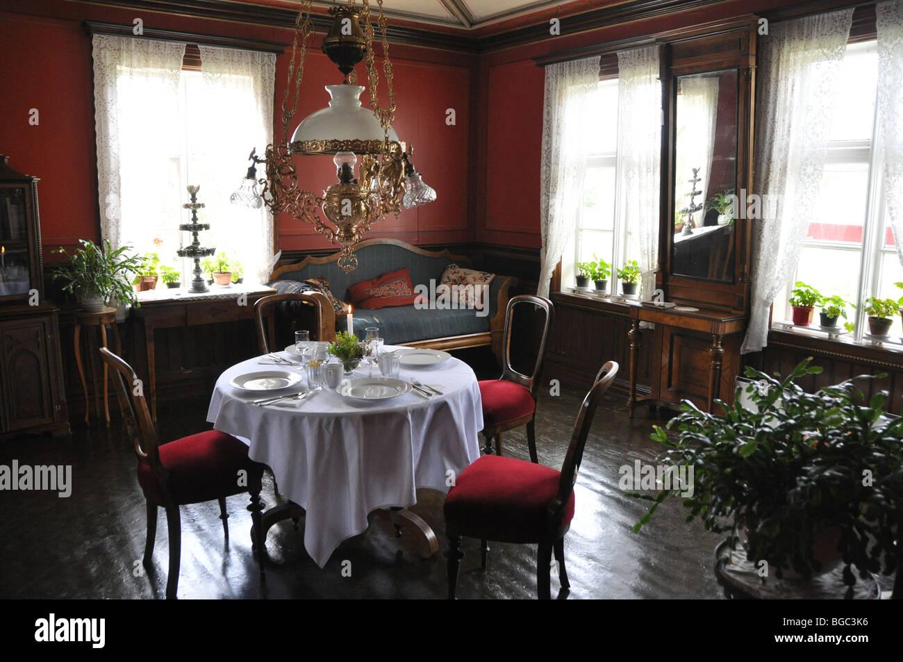 Oppeid,  Dining Room -Haramoy Bygdetun (Village Museum) Norland Norway - Stock Image