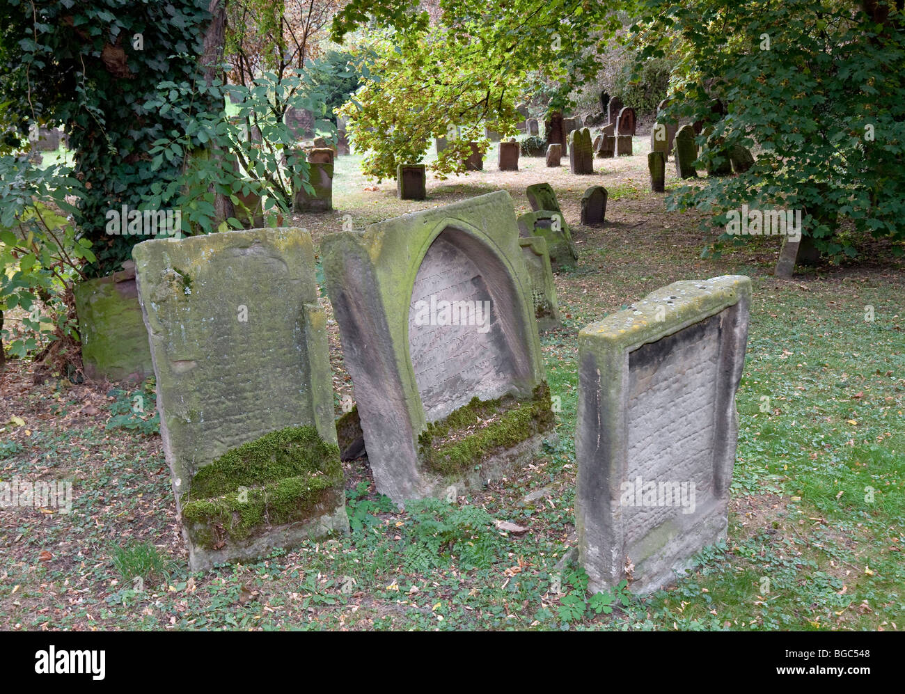 The Heiliger Sand Jewish Cemetery in Worms, Rhineland-Palatinate, Germany, Europe - Stock Image