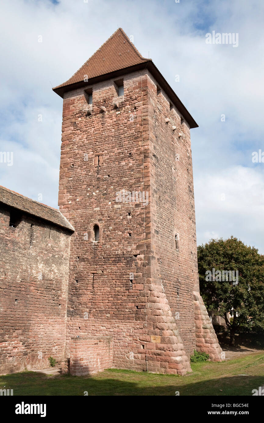 Medieval city wall and tower, Worms, Rhineland-Palatinate, Germany, Europe - Stock Image