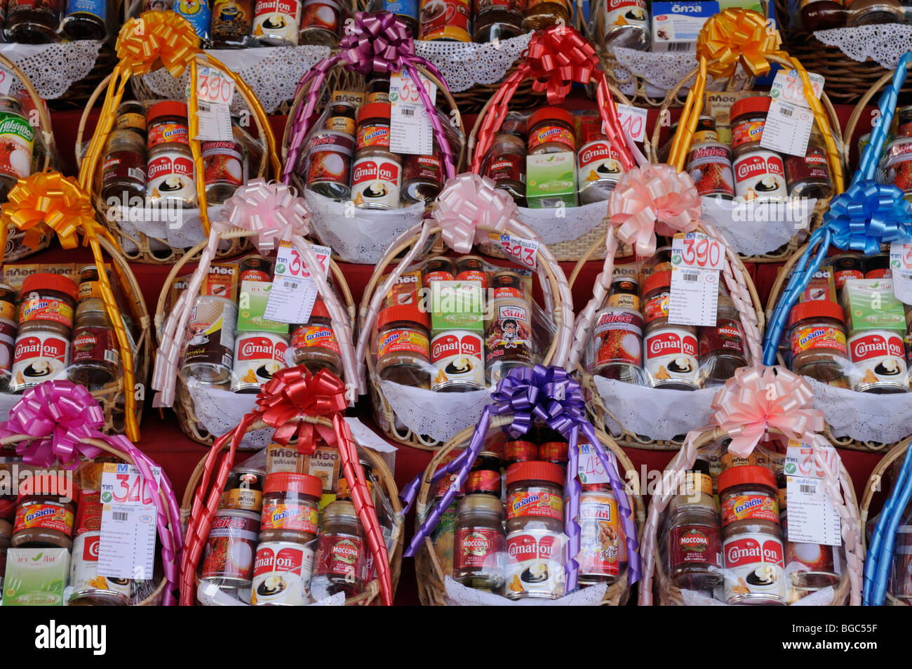Thailand; Surin; Christmas Gift Food Baskets on sale at a ...