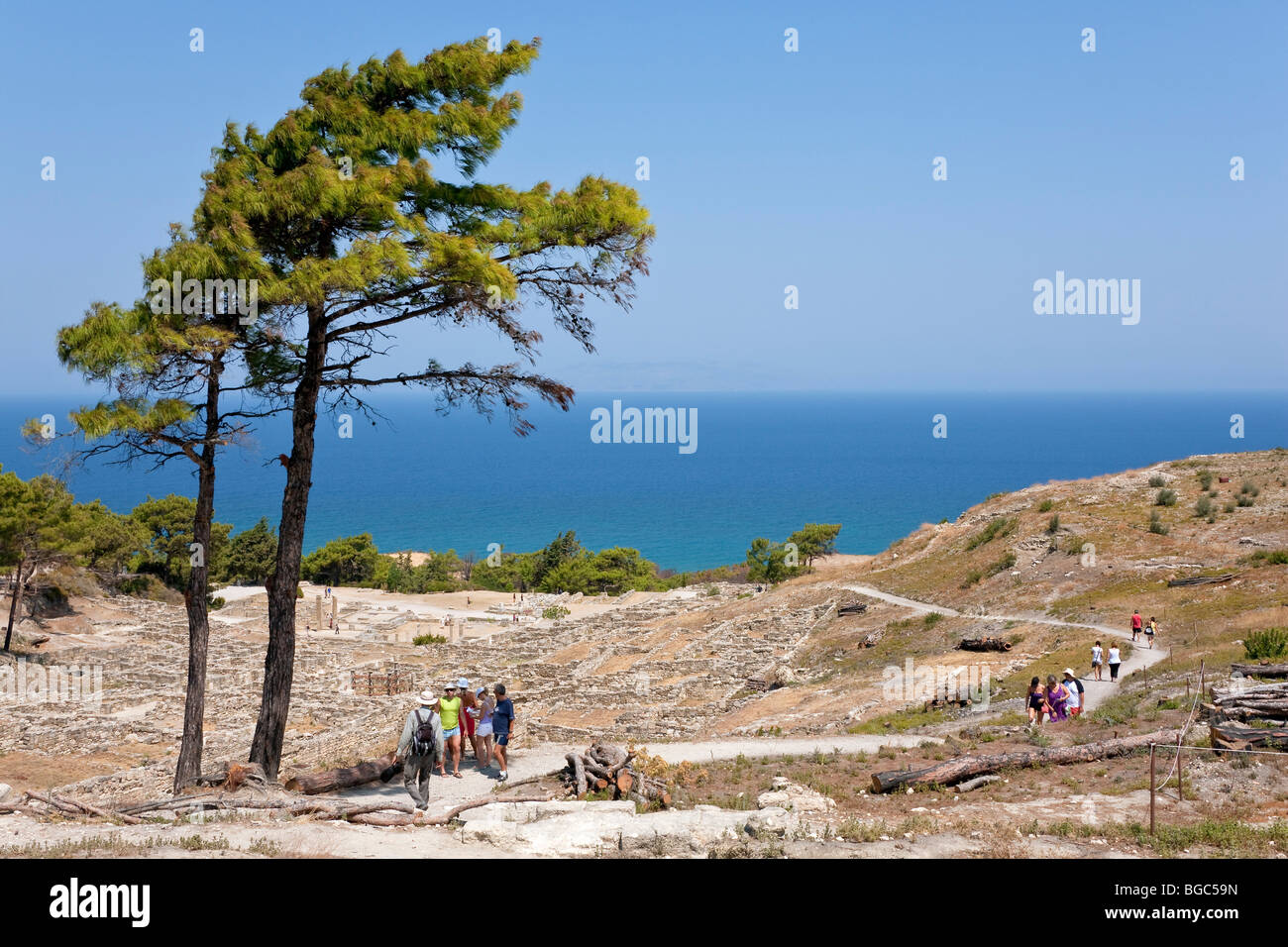 The excavation site of ancient Kamiros, Rhodes island, west coast, Greece, Southern Europe, Europe - Stock Image