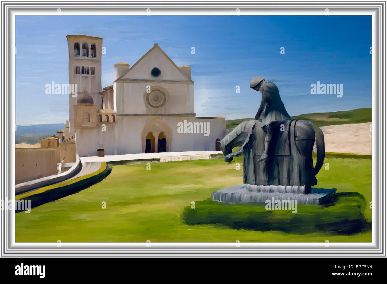 Modern mixed media painting, Basilica di San Francesco Assisi, Italy ...