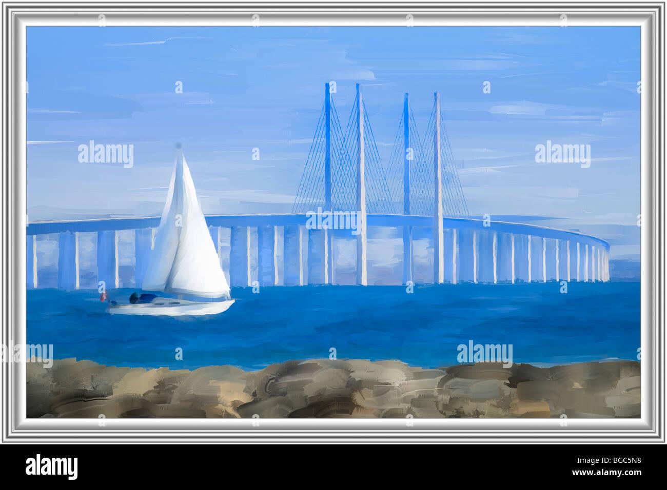 Modern mixed media painting, sailboat in front of the Oeresund bridge, Denmark, Europe - Stock Image
