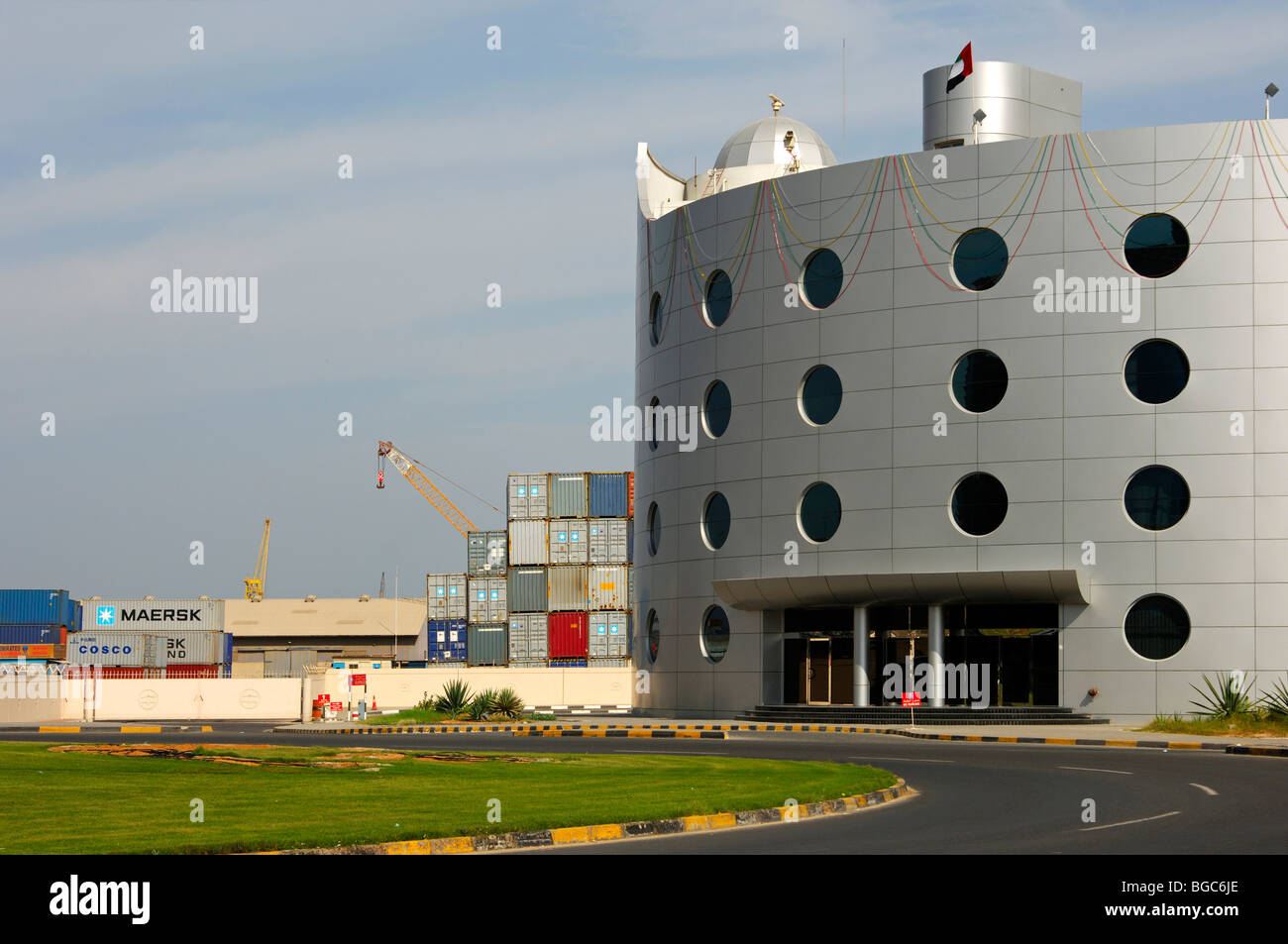 Building of the port and customs authorities, Ajman, Emirate of Ajman, United Arab Emirates, Middle East Stock Photo