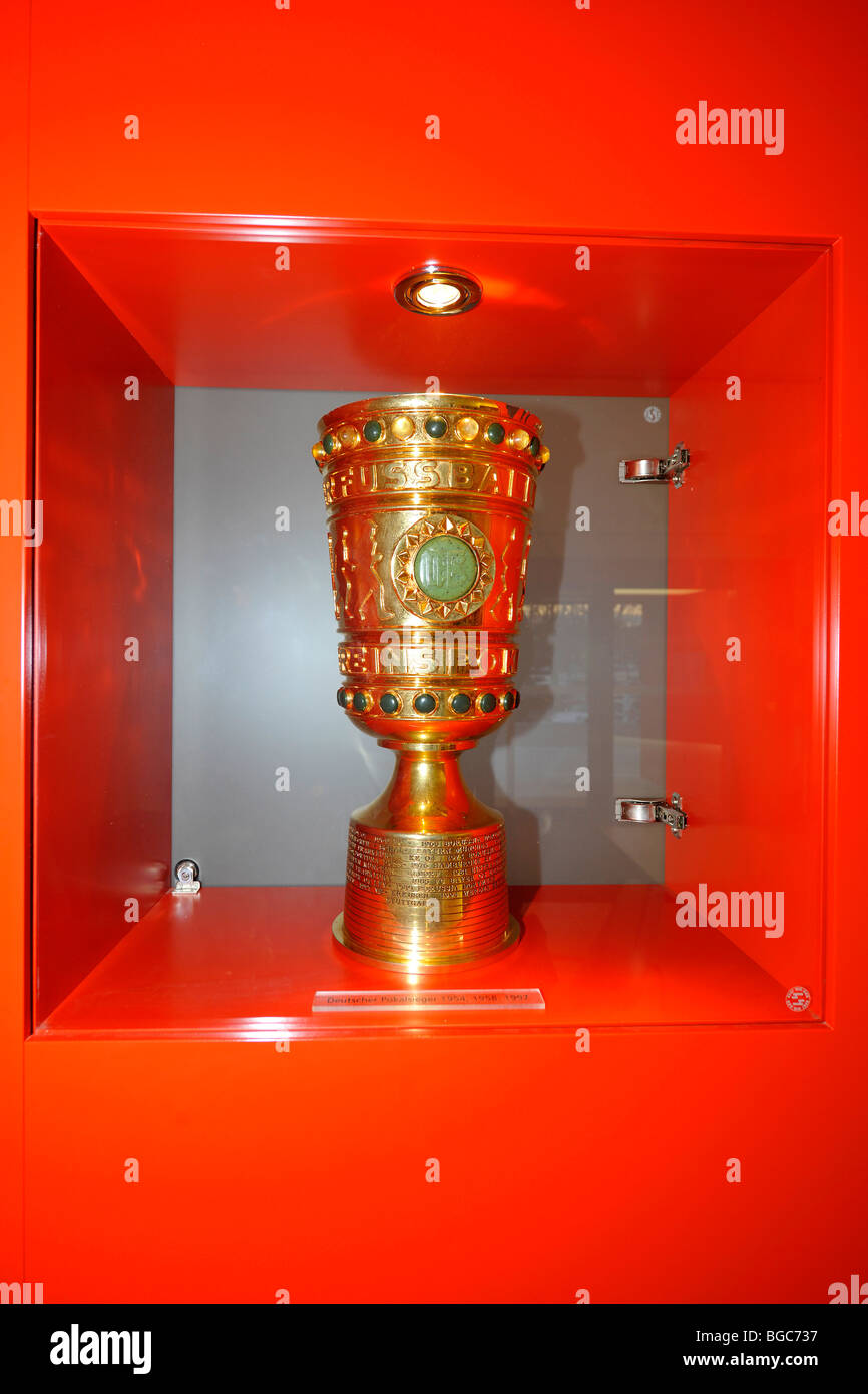 DFB-Pokal cup in the cabinet of the office of the VfB Stuttgart football club, Stuttgart, Baden-Wuerttemberg, Germany, - Stock Image