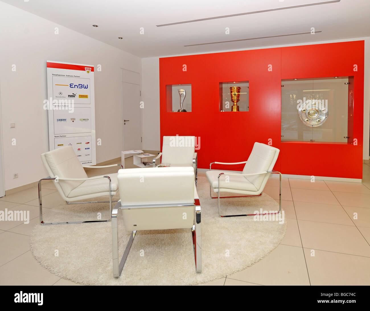 Interior, foyer, office of the VfB Stuttgart football club, Stuttgart, Baden-Wuerttemberg, Germany, Europe - Stock Image
