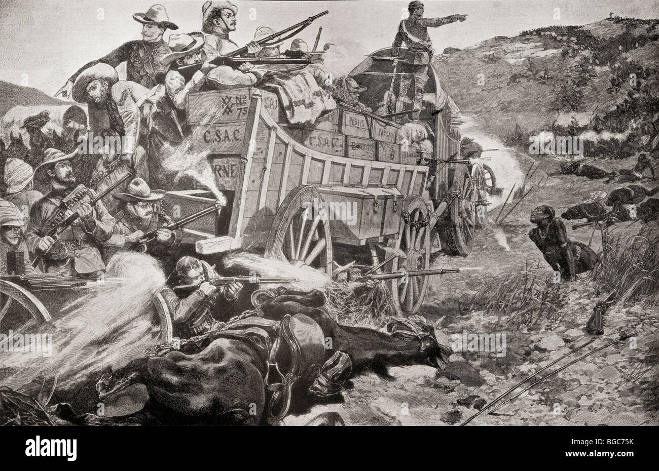 Defending a laager during the Matabele Wars. - Stock Image
