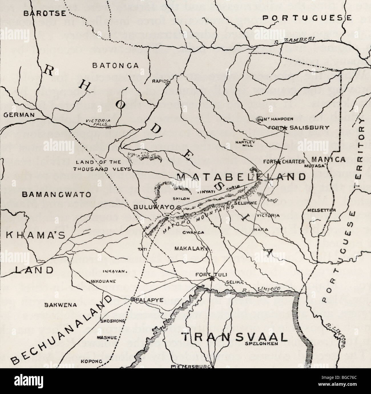 Map of Matabeleland in the late 19th century. - Stock Image