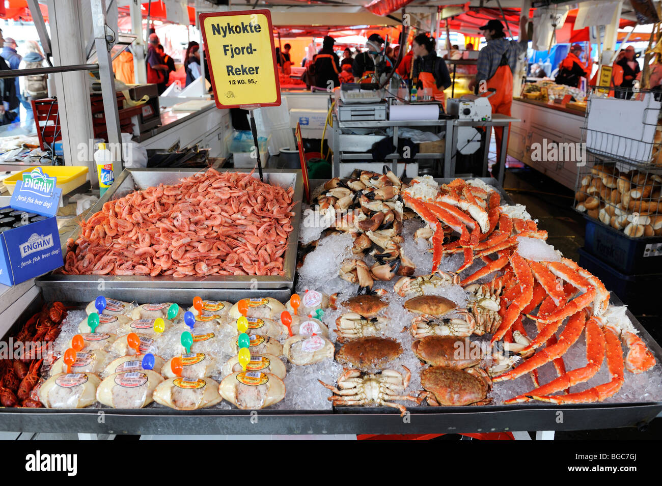 Fish market in Bergen, Norway, Scandinavia, Northern Europe - Stock Image
