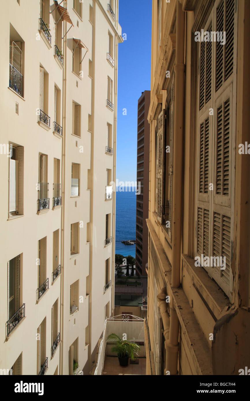 Sea view from the Boulevard des Moulins, Monaco, Cote d'Azur, Europe Stock Photo
