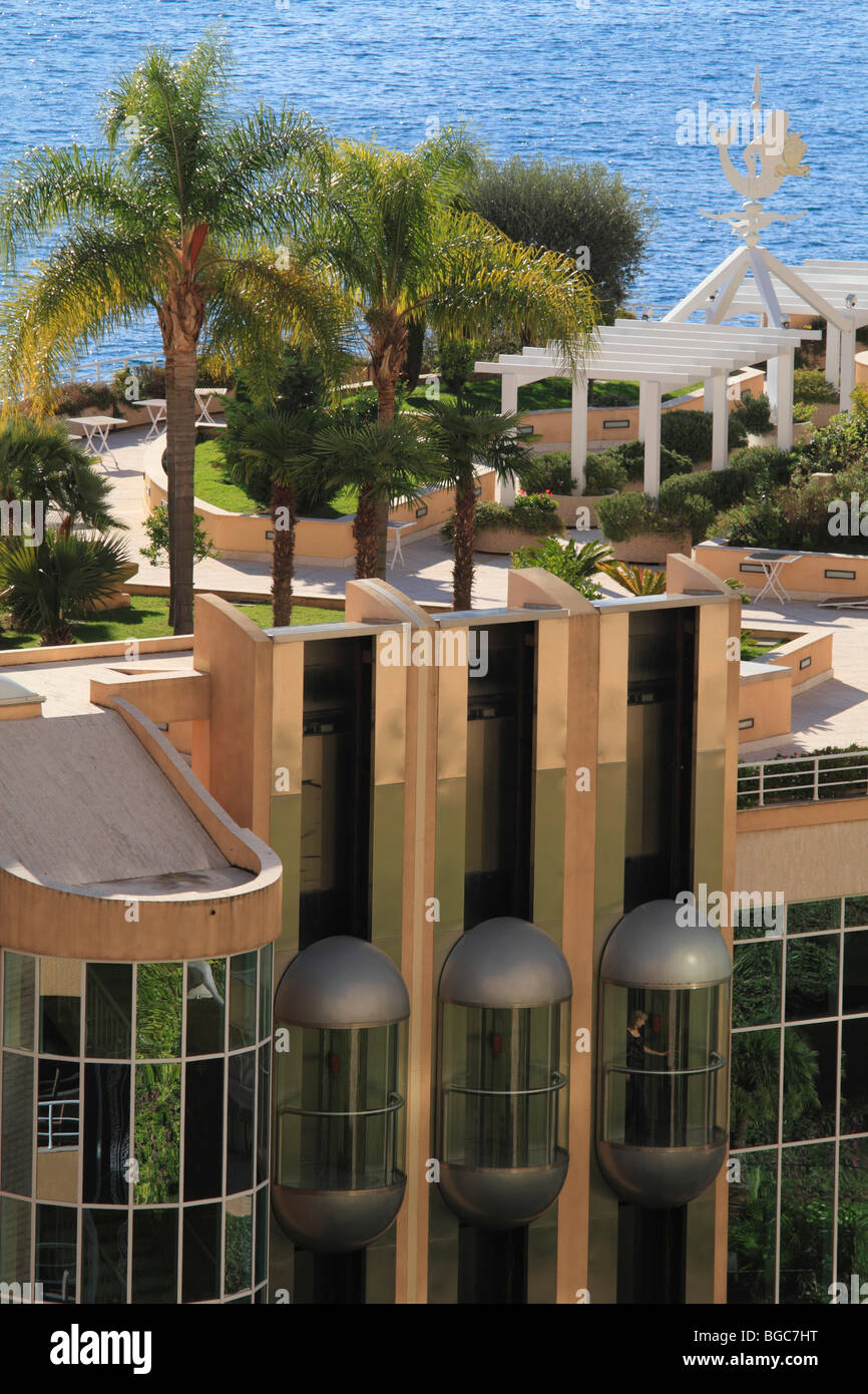 Roof Garden With Palm Trees And Elevators Hotel Le Meridien Beach Plaza Larvotto Monaco Cote DAzur Europe