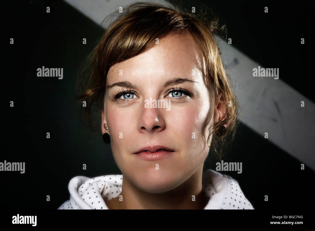 Portrait Of A Young Woman Direct Look Cool Young People Stock Photo Alamy
