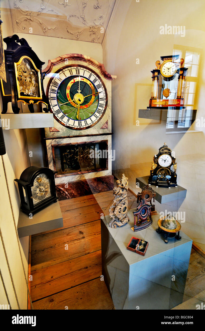 Various clocks, in the middle the astronomical clock, also called Astrolabium, in the Benedictine Abbey Ottobeuren, - Stock Image