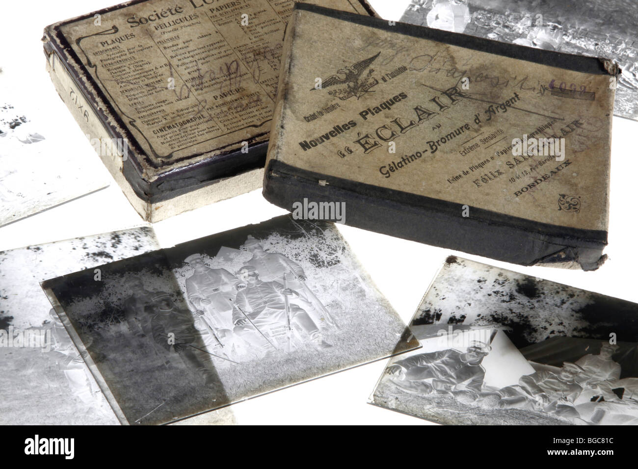 Old exposed silver bromide gelatin glass negatives - Stock Image