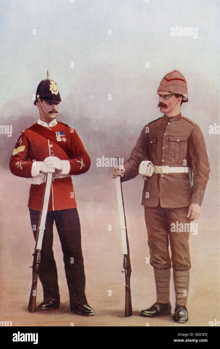 Colour Sergeant and Private of The Gloucestershire Regiment during the late 19th century. - Stock Image