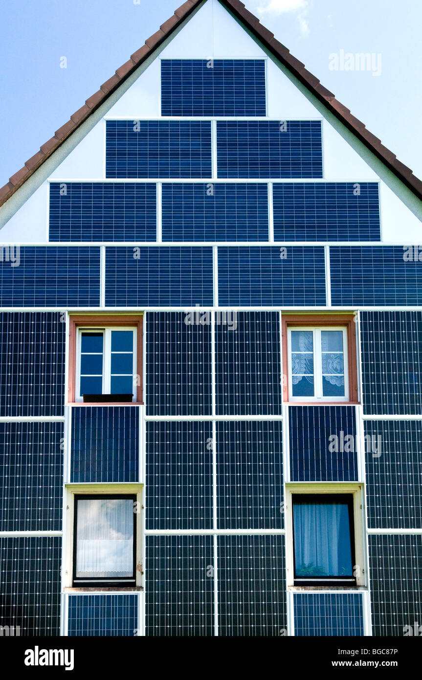 Solar panels on a building front - Stock Image